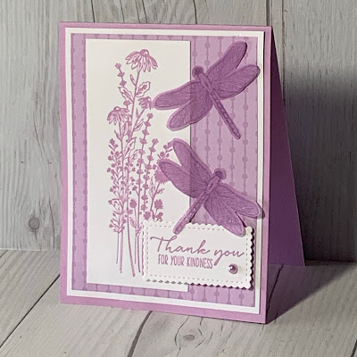 Handmade greeting card featuring dragonflies using the Dragonfly Garden Stamp Set and coordinating Dragonflies Punch