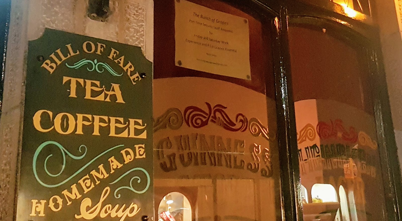 Old fashioned Bill of Fare sign - tea, coffee, homemade soup