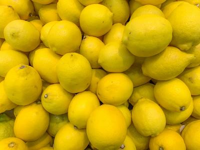 Yellow lemons top view stock image