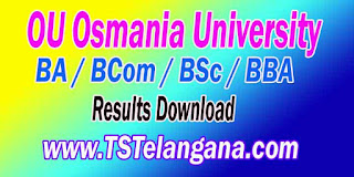 OU Osmania University  BA / BCom / BSc / BBA Results on www.osmania.ac.in