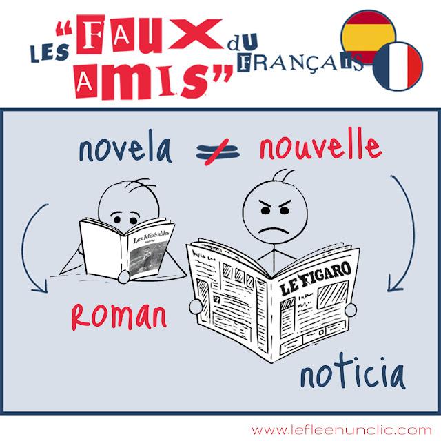 faux-amis, roman, novela, vocabulaire, français, espagnol, FLE, le FLE en un 'clic'
