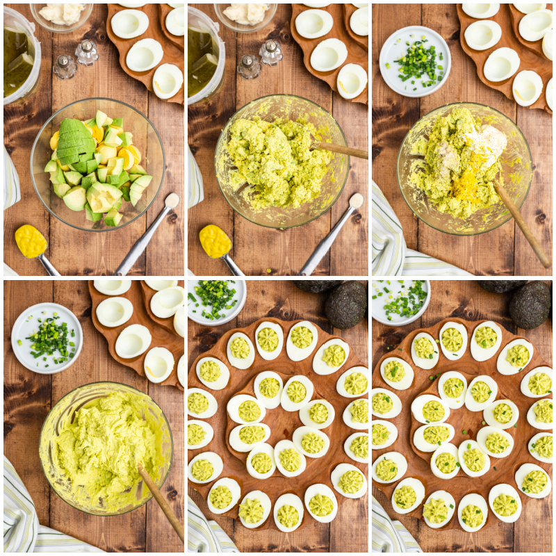 Six photos of the process of making Avocado Deviled Eggs.