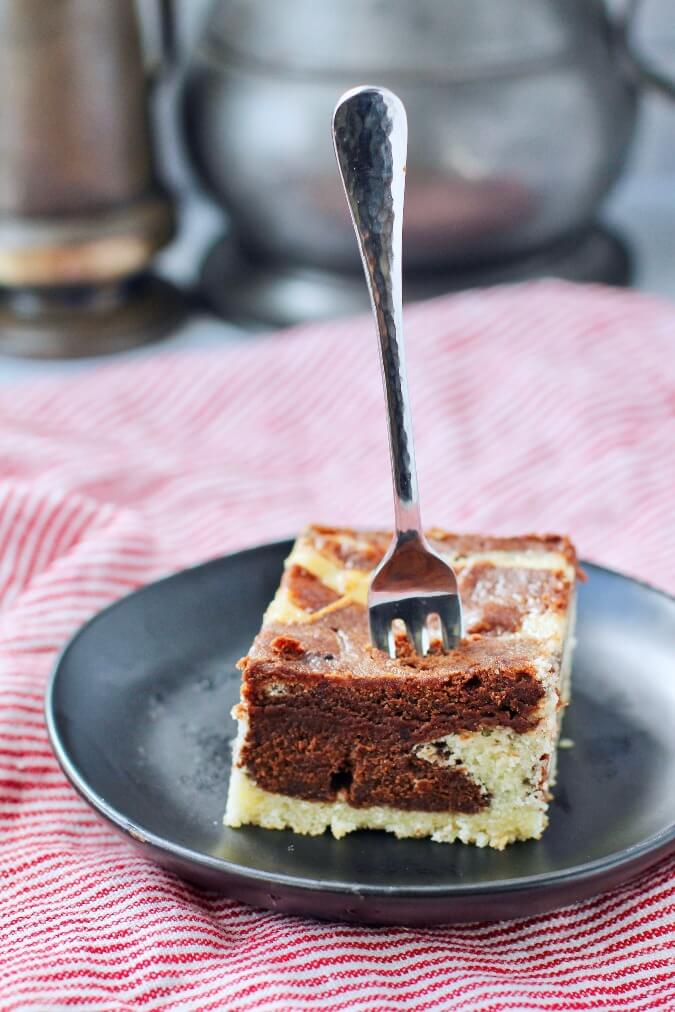 Marble cake with fork
