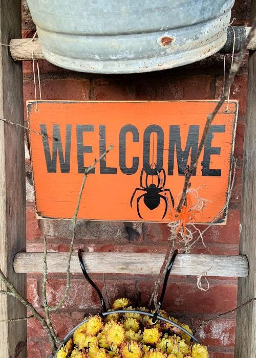 Halloween porch - halloween wooden sign