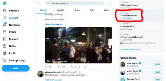 Tuntutan Mahasiswa Ditolak, Tagar #TurunkanJokowi Trending Topic
