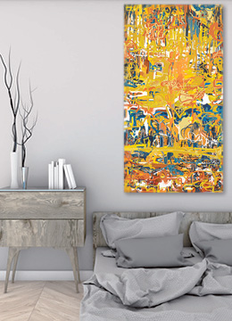 Abstract art, abstract wall art, modern art, canvas art, orange art, multi coloured art, contemporary art, large art, portrait art, original art,Sam Freek,