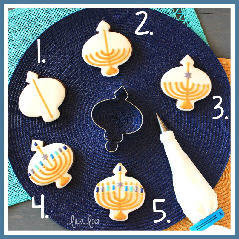 Hanukkah menorah cookie decorating tutorial