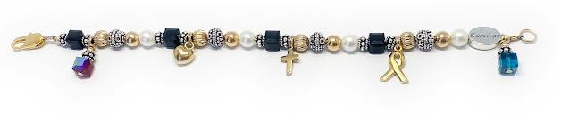 Black and Gold Ribbon Bracelet with a Heart Charm, Cross Charm, Ribbon Charm, July Birthstone Charm and December Birthstone Charm with a Survivor Bead