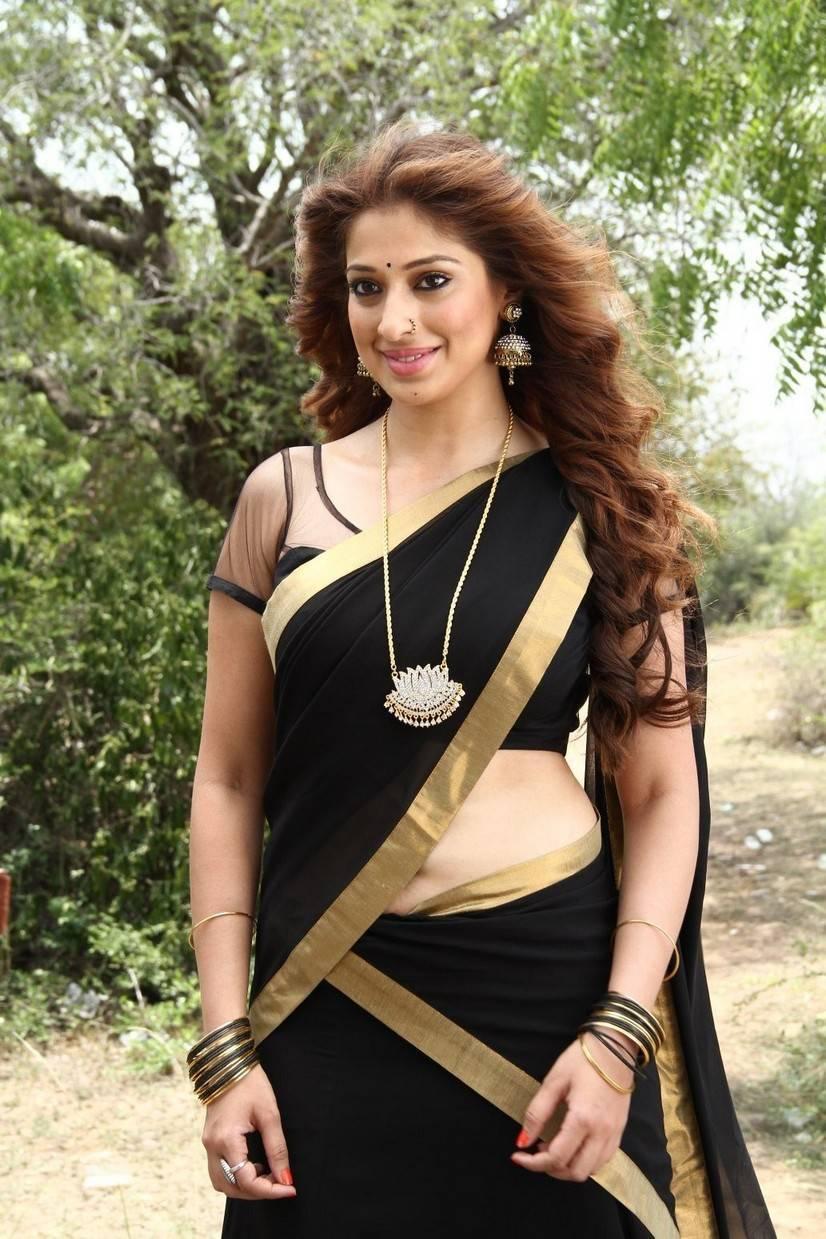 South Indian Hot Girl Raai Lakshmi Long Hair Hip Navel Stills In Black Saree