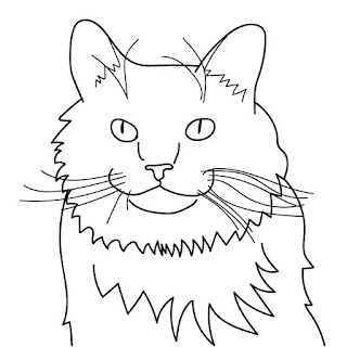 cat line art long haired Purina