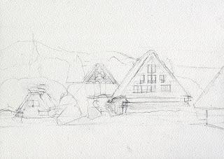 水彩画 雪の里 鉛筆で簡単にスケッチ sketch The village in the snow