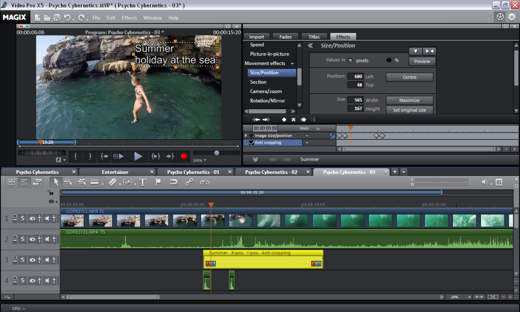 Keyframe Title Animation in Magix Video Pro X