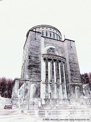 Planetarium Hamburg, Konturen, Umriss, schwarz weiss, Silhouette