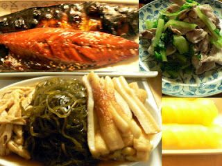 サバみりん干し 切昆布煮付け 青菜と豚バラ炒め たくわん