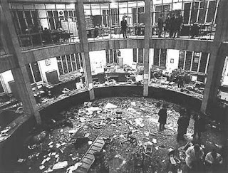 The office and counter area inside the Banca Nazionale dell'Agricoltura in Milan after the explosion