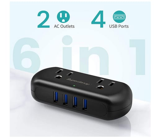 SUPERDANNY 4 USB Ports 2 Wide-Spaced Outlets Power Strip