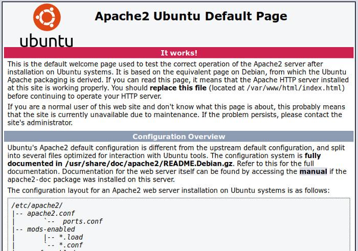 pagina inicial do apache