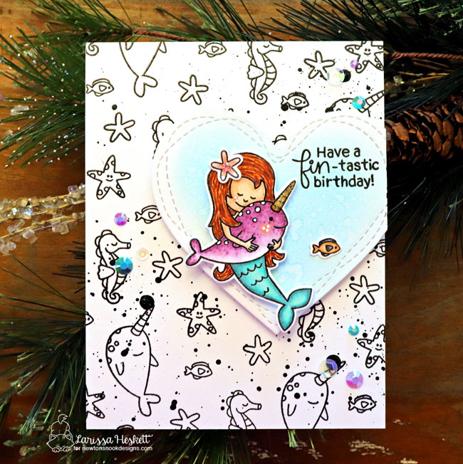 Mermaid and Narwhal Card by Larissa Heskett | Narly Mermaids Stamp Set by Newton's Nook Designs #newtonsnook #handmade