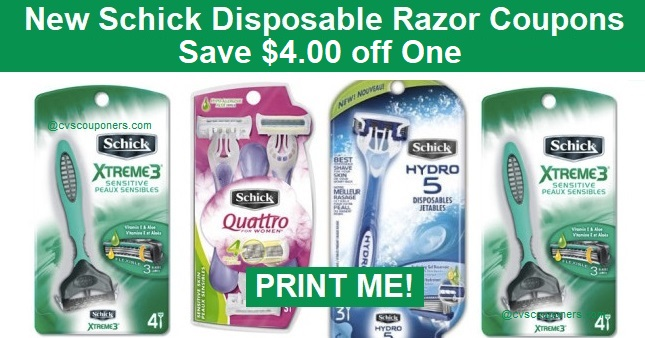 Schick Disposable Razor Coupons | Save $4.00 off One
