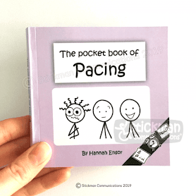 A pale lilac small book being help up. The title of the book is The Pocket Book of Pacing and it has a stickman illustration on the cover.