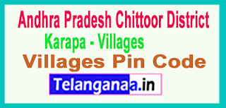 East Godavari District Karapa Mandal and Villages Pin Codes in Andhra Pradesh State