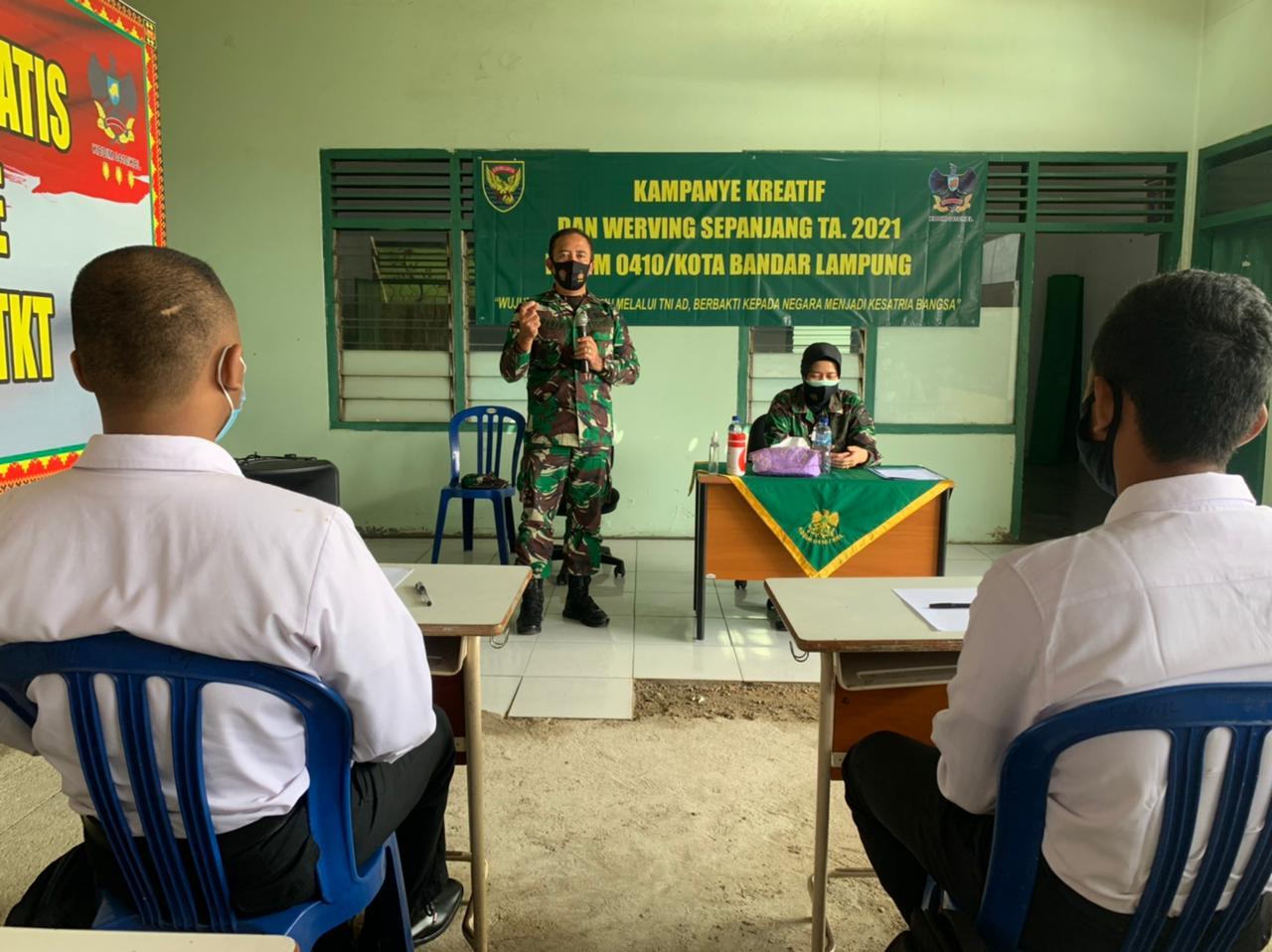 Koramil 410-04TKT Kodim 0410KBL menggelar kegiatan Sosialisasi Penerimaan Calon Tamtama Prajurit Karier (PK) Gel - l Tahun 2021 di Aula Koramil