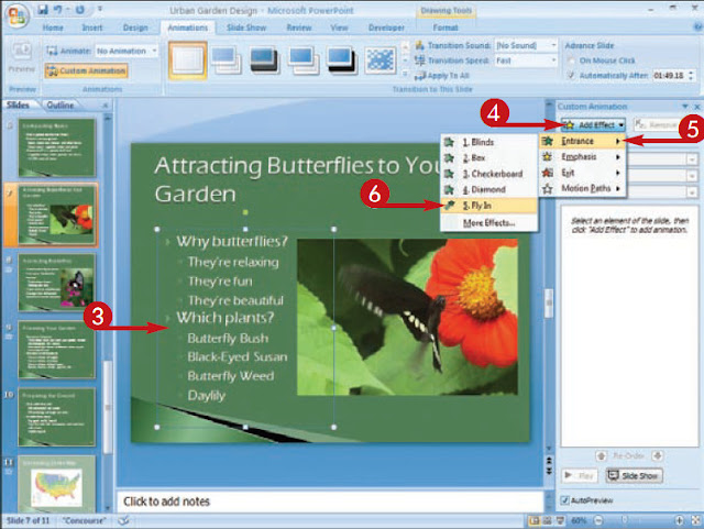 Choreograph effects to make a multimedia presentation