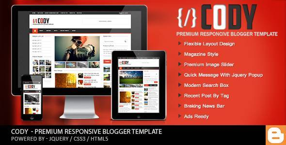 Cody - Responsive Magazine Blogger Template - Blogging