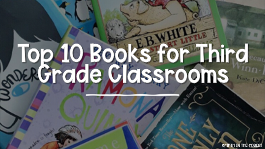 Cover image titled 'Top 10 Novels for 3rd Grade' with pictures of a pile of 10 novel on the 3rd grade level
