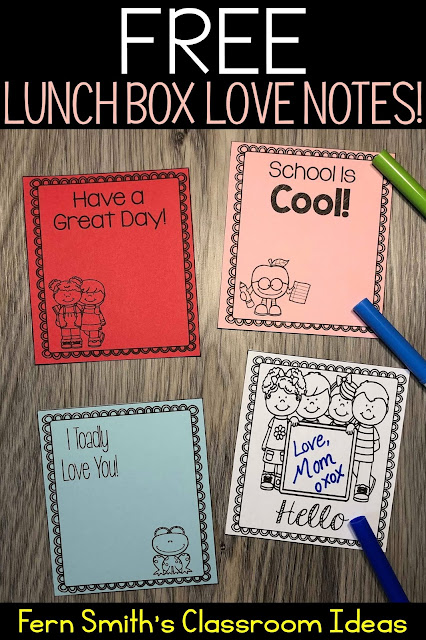 Perfect for Back to School Free Lunch Box Love Notes For Home OR School from Fern Smith's Classroom Ideas!