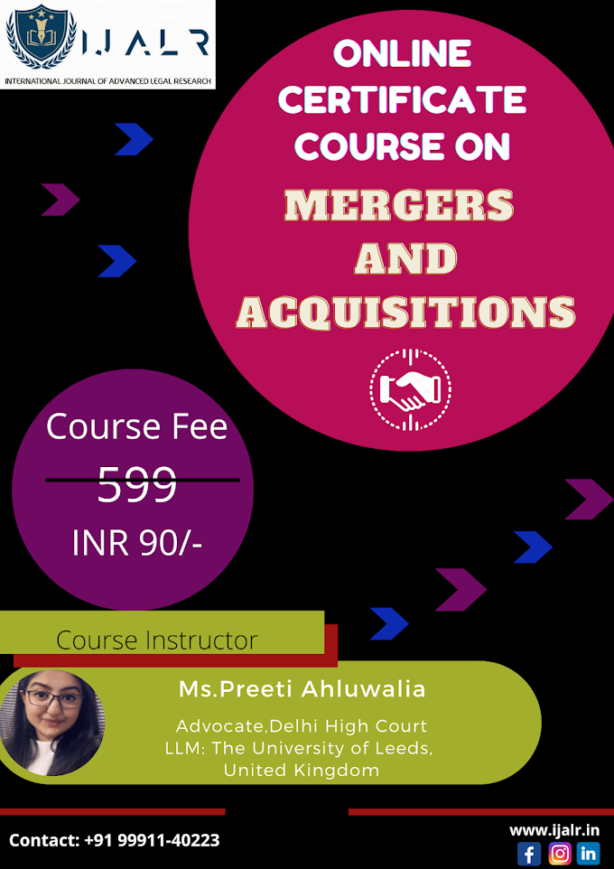 ONLINE CERTIFICATE COURSE ON MERGERS & ACQUISITIONS