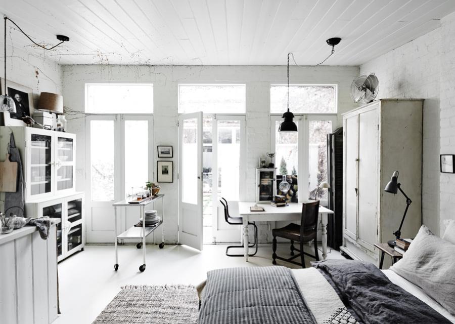 Un monolocale total white a melbourne blog di for Monolocale con 1 camera da letto