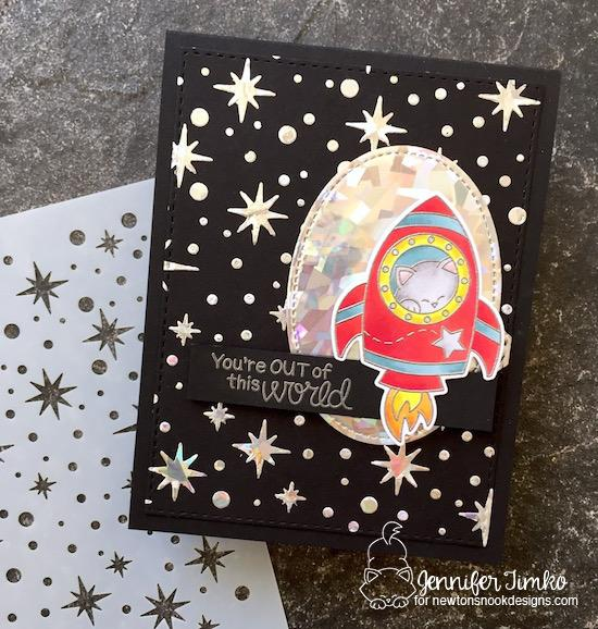 Newton's Nook Designs & Therm O Web Inspiration Week | Space Cat Card by Jennifer Timko |  Cosmic Newton Stamp set and Starfield Stencil by Newton's Nook Designs #newtonsnook #thermoweb