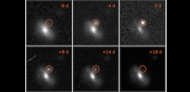 Images of one of the transient events, from 8 days before maximum brightness to 18 days afterwards. This outburst took place at a distance of 4 billion light years. Credit: M. Pursiainen / University of Southampton.