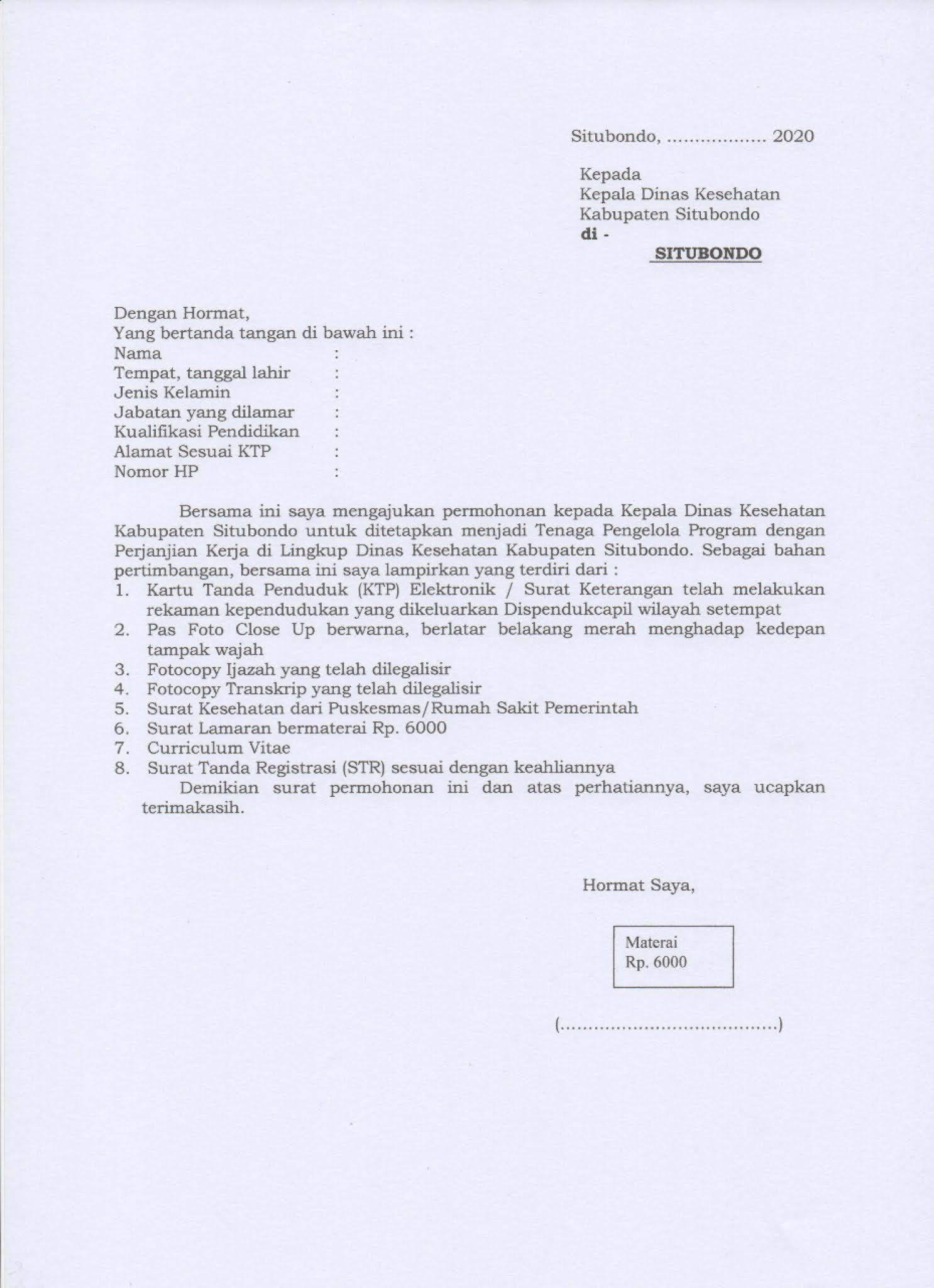 Rekrutmen Tenaga Pendamping Program dengan Perjanjian Kerja Dinas Kesehatan Situbondo 2021
