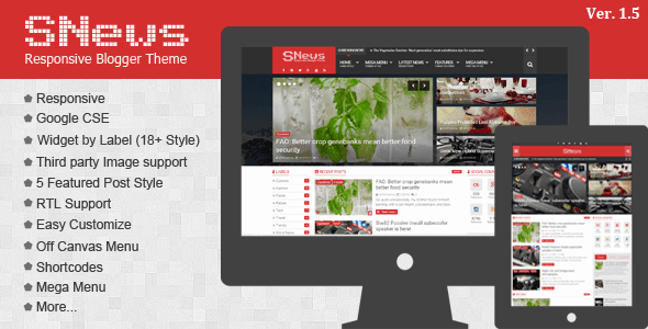 Free Download SNews V1.5 - News/Magazine Responsive Blogger Template