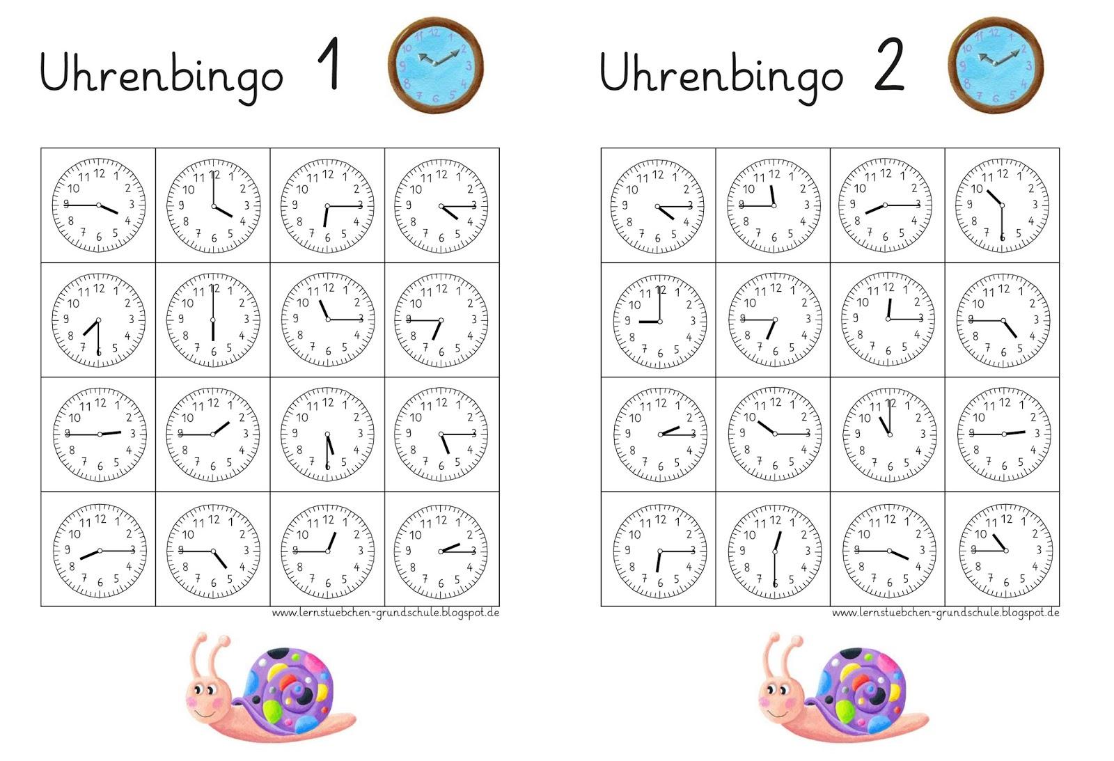 Lernstubchen Uhrenbingo