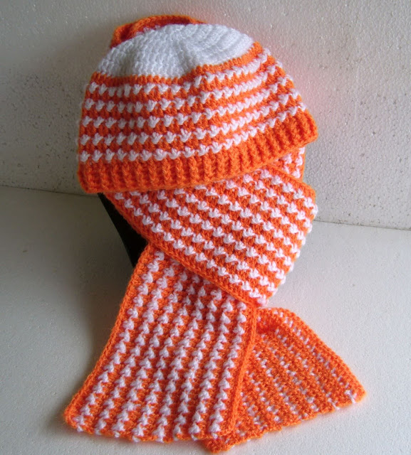 crochetkari orange scarf and hat set