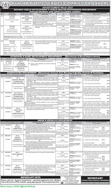 PPSC Jobs 2021 - Latest Jobs in Punjab Public Service Commission Latest Advertisement NO. 01/2021