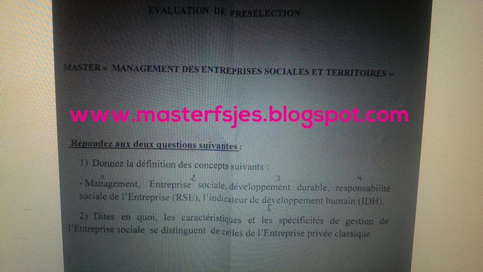 Management des Entreprises Sociales et Territoires - Fsjes Fes