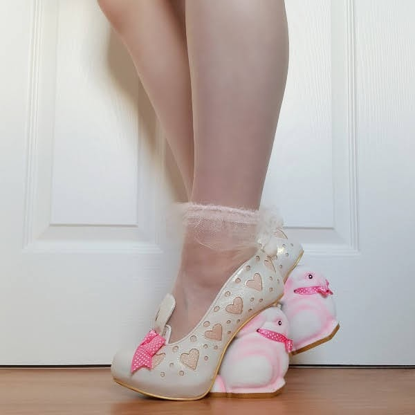 wearing flocked bunny heeled shoes with glitter hearts and organza frill ankle socks