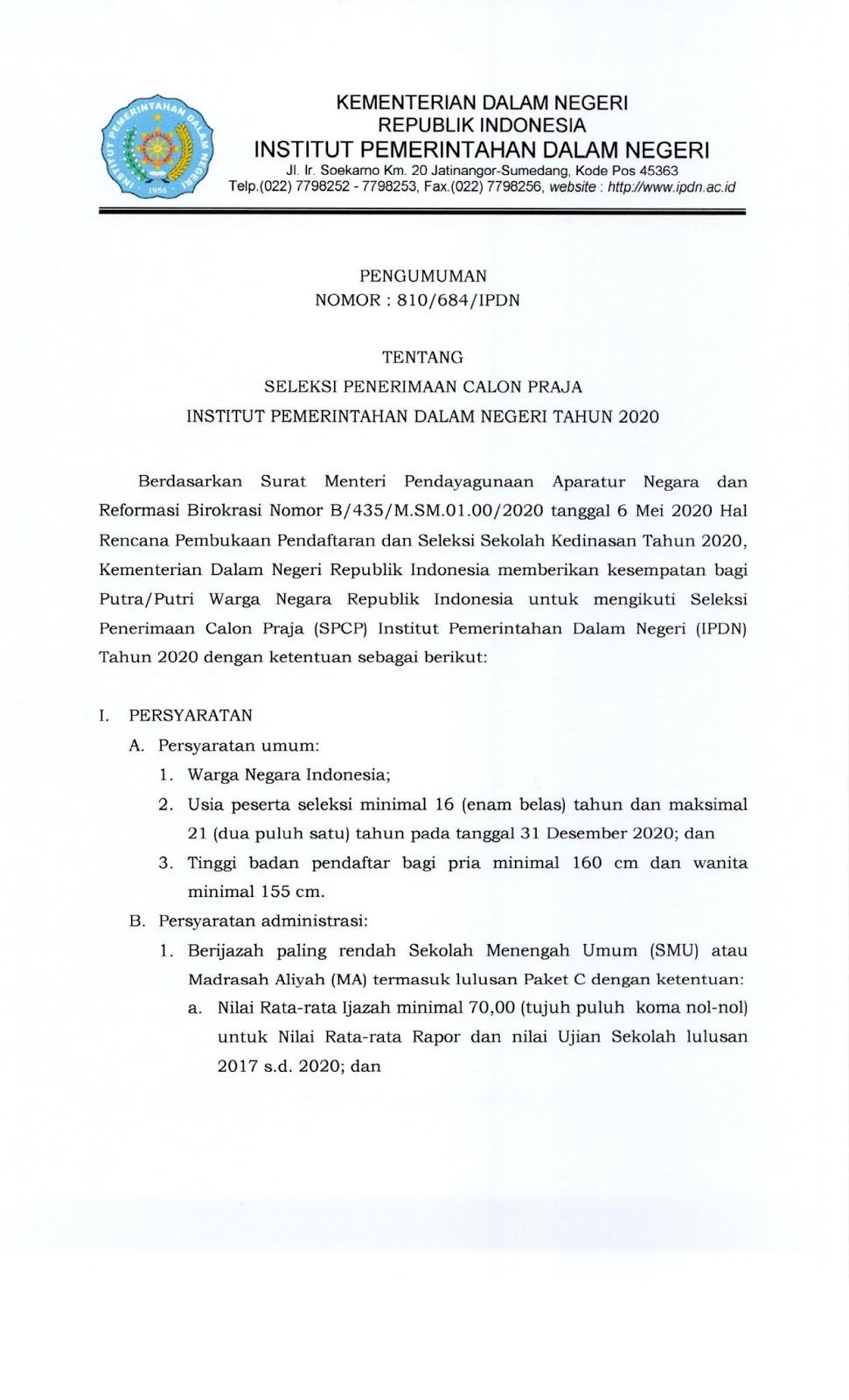 Penerimaan Calon Praja Institut Pemerintahan Dalam Negeri (IPDN) Kementerian Dalam Negeri Tahun 2020