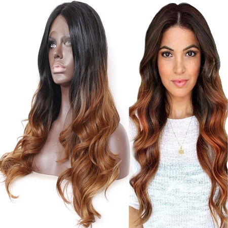 Graceful Wavy Ombre Brown Lace Front Wig For Black Women –Price:$64.99