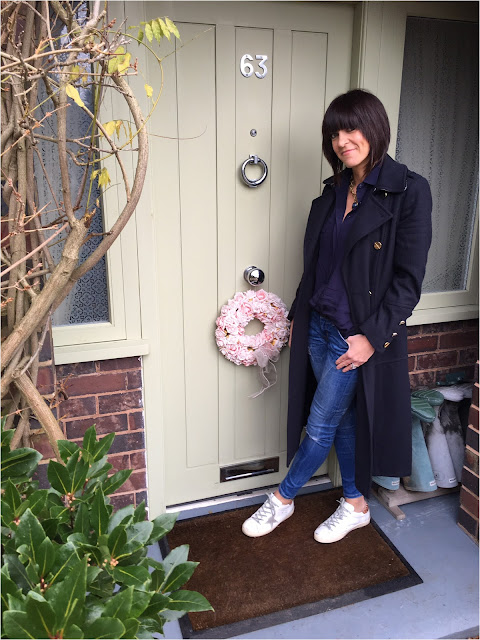 My Midlife Fashion, Wallis W Military Coat, Zara oversized blue shirt, skinny jeans, golden goose trainers
