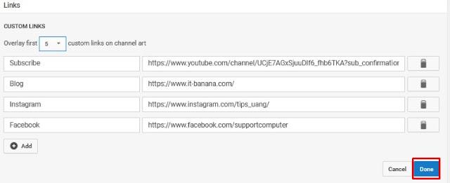 channel art youtube - cara menambah url link di sampul