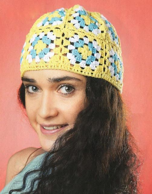Летняя шапочка из квадратов. Ladies summer hat