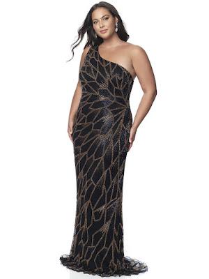 Single Shoulder fitted Blush Plus Size Prom black bronze dress