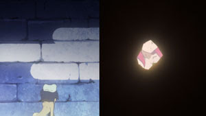 Simon peeking through the wall in the hot springs episode.