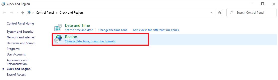 5 - الضغط على Change date, time, or number formats.