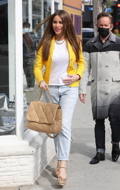 Sofia Vergara – In denim and yellow blazer out in West Hollywood